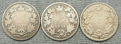 Lot Of 3 Canada 25 Cents Silver Coins - 1870, 1874 H & 1904