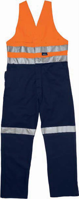Hard Yakka Overalls Cotton Drill Hi Vis Action Back Day/Night Reflective Tape