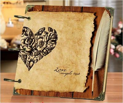 DIY 30 Black Pages 18x18cm Love Letter Kraft Cover 3-ring Photo Album Scrapbook