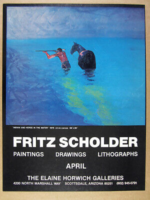 1978 Fritz Scholder Indian & Horse in the Water painting vintage print Ad