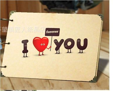 DIY 30Pages 26.8cm x 16.7cm Kraft I LOVE U FOREVER Photo Album Wedding Scrapbook