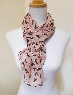 Ladies' Scarf, Soft Pink With Black Cats - 01088
