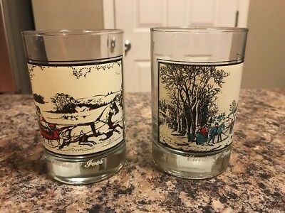 2 Vintage 1981 Arby's Currier & Ives Collection Glasses The Road in Winter