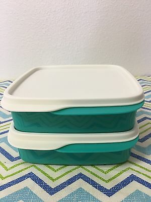 Tupperware Packette Divided Lunch Containers w/ Lid Set Of 2 Aqua w/ Ivory Seal
