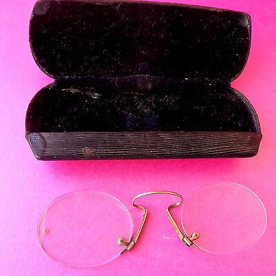 Antique Pince Nez (Pnch On Nose) Spectacles, Sprung Nose Arch For Larger Noses