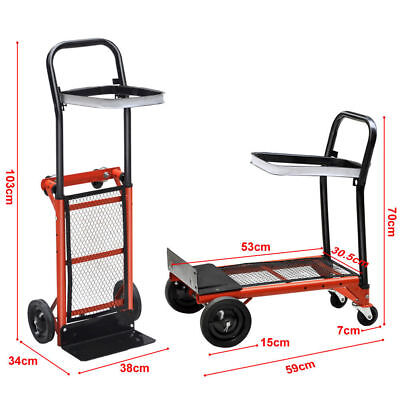 Hand Sack Truck Trolley Industrial Heavy Duty Pneumatic Tyres Folding Red Large