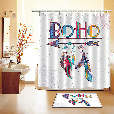 Waterproof Fabric Dreamcatcher Shower Curtain Boho Feather Arrows Bathroom Mat