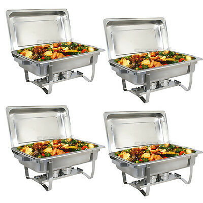 4 Pack of 8 Quart Rectangular Chafing Dish Stainless Steel Full Size New