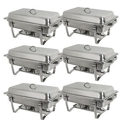 6 Pack of 8 Quart Rectangular Chafing Dish Stainless Steel Full Size New