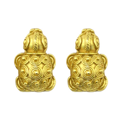 ACROSS THE PUDDLE 24k Gold Plated Pre-Columbian Embossed Turtle Earrings