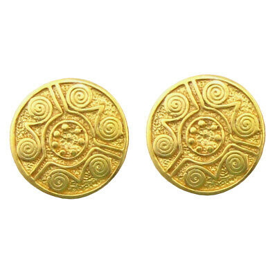 ACROSS THE PUDDLE 24k Gold Plated Pre-Columbian Style Carved Coin Earrings