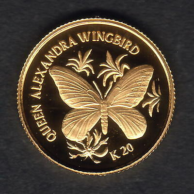 Papua New Guinea. 1998 Gold 20 Kina .. Butterfly.. 1.224gms  .9999 gold.. Proof