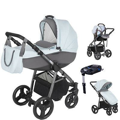Mini Uno Sky Blue Stride Travel System Pushchair Car Seat Carrycot Isofix Base
