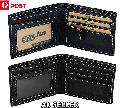 MENS LEATHER Bifold Wallet Slim GENUINE LEATHER RFID Blocking Purse Card Holder