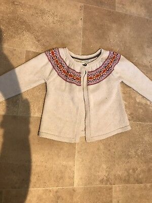 Girls 2-3 Boden Cream Knitted Cardigan With Detailed Neckline