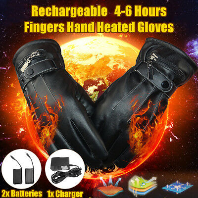 Leather Rechargeable Battery Power Electric Finger Hand Heated Winter Warm Glove