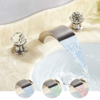 LED Chrome 3pcs Bathroom Basin Sink Faucet Waterfall Spout Dual Knobs Mixer Tap