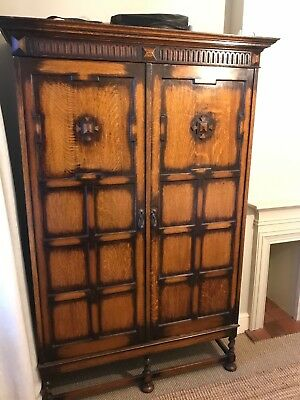 Antique Gentleman's Wardrobe with Drawers, Pull out Shelves, Hanging & Mirror