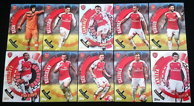 10 x Arsenal FC Topps Premier Club 2015/16 Soccer Cards Team Set inc INSERTS