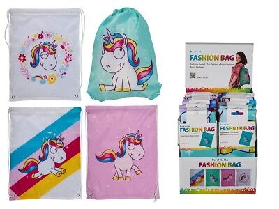 Set of 4 Kids Girls Toddler School Unicorn Drawstring Back Pack Ruck Sack Bag