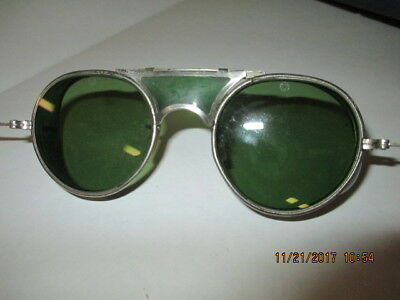 Vintage Steampunk Bausch And Lomb Green Lens Safety Motorcycle Goggles Glasses
