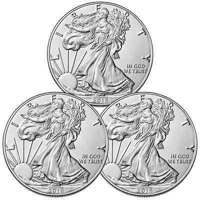 Lot of 3 Coins - 2018 American Silver Eagle $1 GEM BU Coin SKU51561