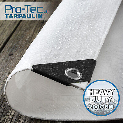 200GSM Heavy Duty Tarpaulin White Waterproof Ground Sheet Tarp Cover Camping