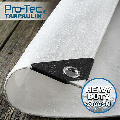 White Tarpaulin 200gsm Heavy Duty Waterproof Ground Sheet Tarp Cover Camping