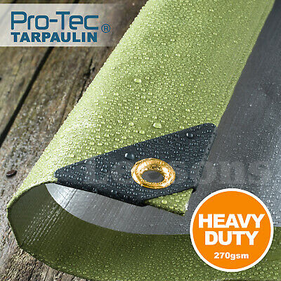 270GSM Tarpaulin Extra Heavy Duty Builders Waterproof Ground Sheet Cover Green