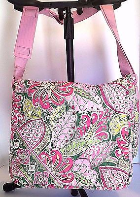 Vera Bradley Crossbody Messenger Laptop Tote Pinwheel Pink Padded Strap Latches