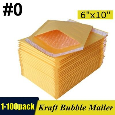 "#0 6""x10"" Kraft Bubble Mailers Padded Self Seal Shipping Bags Envelopes 1-100pcs"