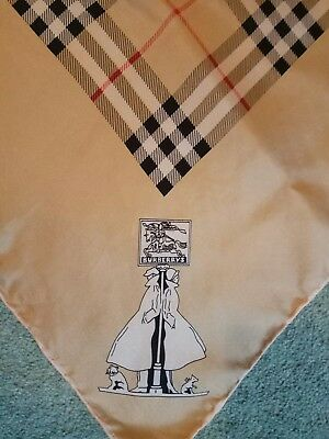 Gorgeous Burberry Vintage Classic Check Pure Silk Square Scarf vgc Xmas Gift
