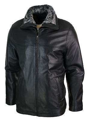 Mens Classic Double Zip Fur Lined Genuine Soft Leather Coat Jacket Regular Fit