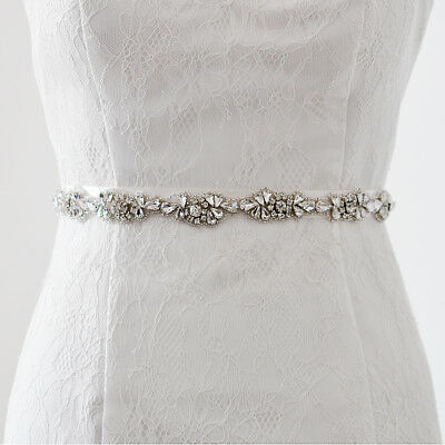 Vintage Clear Crystal Bridal Sash Wedding Dress Belt Accessories 2.5cm
