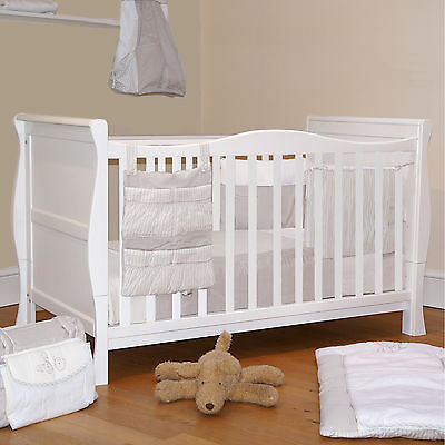 Cuddles Collection 3 In 1 White Sleigh Cot With Deluxe Maxi Air Cool Mattress