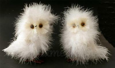 2 Fluffy Fuzzy White Snowy Barn Owls Christmas Marabou Feather Tree Ornaments
