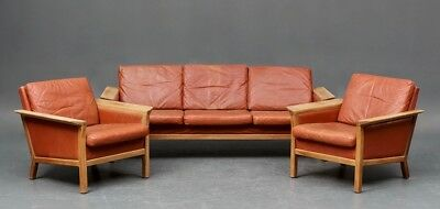 Danish Leather Suite of Sofa and a Pair of Armchairs
