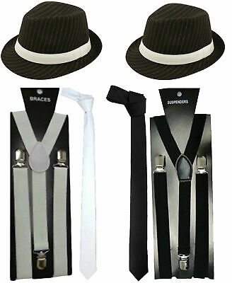 MEN GANGSTER HAT TIE BRACES SET FELT TRILBY AL CAPONE 1920/'s FANCY DRESS PARTY
