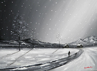 SARAH FEATHERSTONE ORIGINAL OIL CANVAS PAINTING, On Our Way Home, Winter Snow