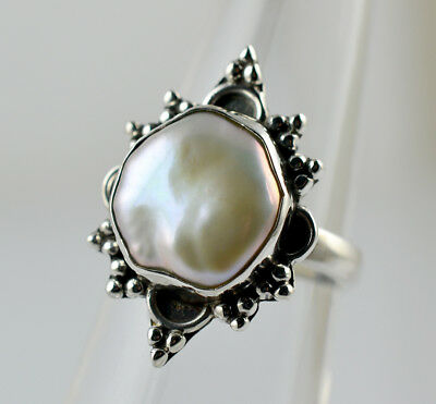 Fresh Water Coin Pearl Ring 925 Solid Sterling Silver Pearl Jewelry Size 3-13 US