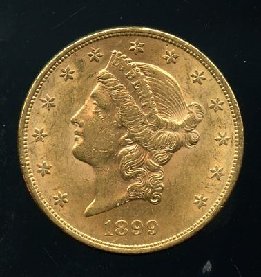1899 United States Gold Liberty Head Double Eagle $20 Coin JE755