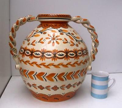 Large Quimper Faience Vase with Twist Handles 34+cm Tall x 37cm Wide !