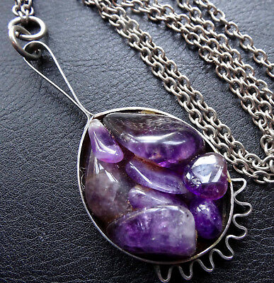 vintage 1970s modernist AMETHYST STAINLESS STEEL pendant chain necklace -C624