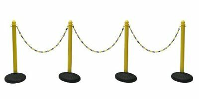 Heavy Duty Plastic Stanchion 4 Pcs Set Yellow + 50' Black & Yellow Chain Crow...