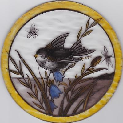 VICTORIAN STAINED GLASS  ROUNDEL  OF A BIRD (tit?)