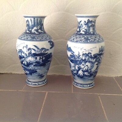 Pair of Chinese Blue and White Kangxi ?  Vases