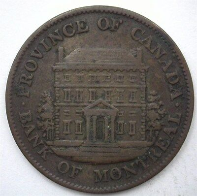 Montreal 1844 Half Penny Bank Token  Nearly Extremely Fine