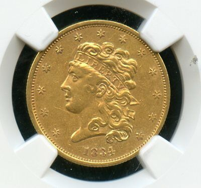 1834 NGC XF45 -Plain 4, Block 8 - United States Gold Classic Head $5 Coin JE760