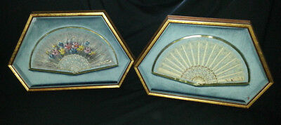 Exquisite SHADOW BOX set Lady's vtg Fan Painted Lace CUSTOM FRAMED Spanish Spain