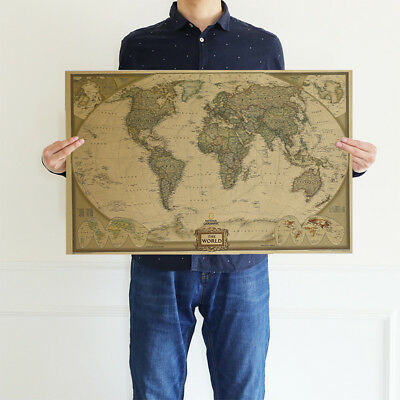 """28"""" x18"""" Retro World Map Antique Paper Vintage Poster Wall Chart Home Decor US"""